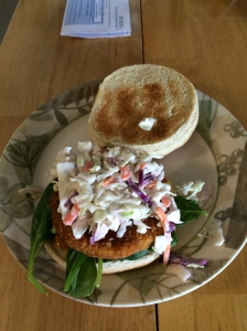 vegan chicken patty with spinach, coleslaw and BBQ sauce