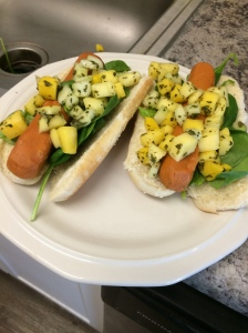 more mango salsa dogs only with spinach on the bottom
